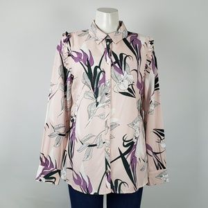 Kaffe Blush Pink Floral Button Front Top Size S